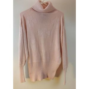 Wool Blend  Sweater Turtleneck Hearts Medium